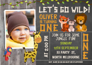 Boy 1st birthday invitations zazzle boys wild safari animals 1st birthday invitation filmwisefo