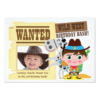 Boys Wild West Western Cowboy Birthday Invite