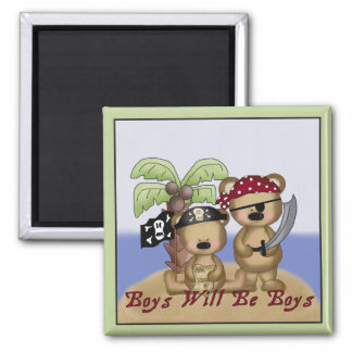 Boys Will Be Boys Lil Pirate Bears Magnet