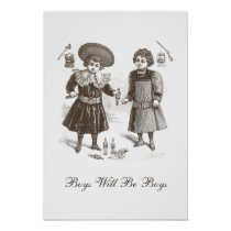 Boys Will be Boys Vintage Children's Fashions Poster