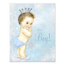 Boys Winter Wonderland Blue Snowflake Baby Shower Card