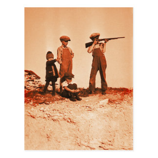 Boys with Rifle Vintage Photo Postcards