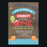 "Boy&#39;s Wood It&#39;s o-fish-al 1st Birthday Invitation<br><div class=""desc"">This boy&#39;s it&#39;s o-fish-al 1st birthday invitation is a cute way to invite your little one&#39;s guests to his birthday party. It features some fish, a fishing rod, various banners and a fishing bobber as part of the word &quot;one&quot; on a dark wood image background. Same design is also available...</div>"
