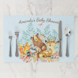 """Boys Woodland Animals Baby Shower Placemat<br><div class=""""desc"""">Cute woodland animals for a baby boy shower. Our cute forest scene featuring a beer,  deer,  fox,  owl,  raccoon,  &amp; moose. Matching items available in our shop.</div>"""