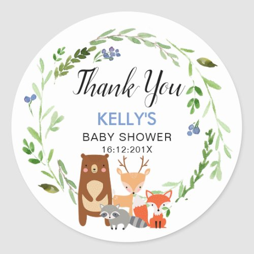 Boys Woodland Animals Baby Shower Sticker