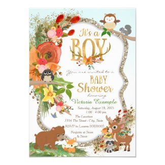 Boys Woodland Antler Baby Shower Card