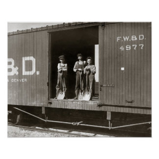 Boys Working on Railroad Car, 1910 Posters
