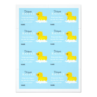 Boys Yellow Duck Diaper Raffle Custom Invitations