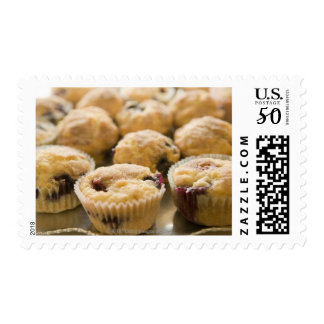 Boysenberry muffins on a platter postage