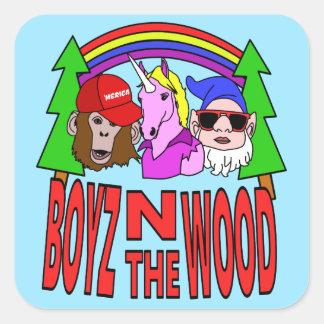 Boyz en la madera pegatina cuadrada