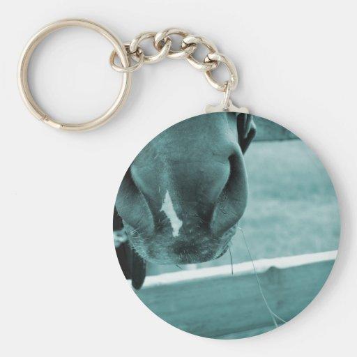 bozal del caballo con el azul de la cerca del heno llavero redondo tipo pin