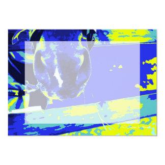 """bozal del caballo con el gráfico amarillo azul de invitación 5"""" x 7"""""""