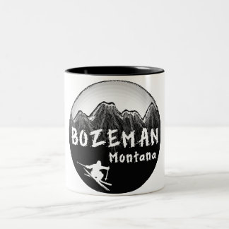 Bozeman Montana artistic skier Two-Tone Coffee Mug