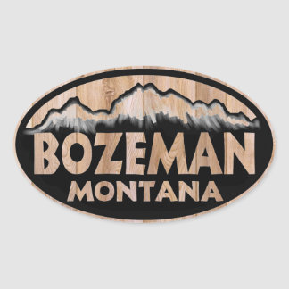 Bozeman Montana wooden oval stickers