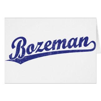 Bozeman script logo in blue card
