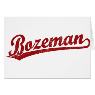 Bozeman script logo in red card