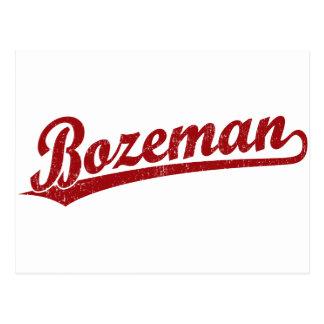 Bozeman script logo in red postcard