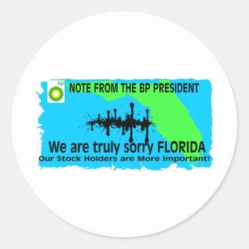 BP A LA FLORIDA PEGATINA REDONDA