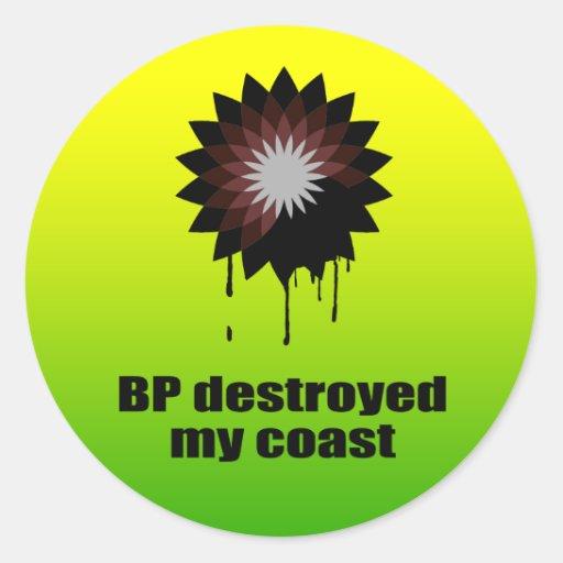 BP DESTRUYÓ MI COSTA PEGATINA REDONDA