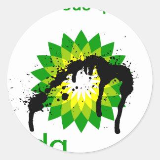 BP engrasa desastre upside-down Pegatina Redonda