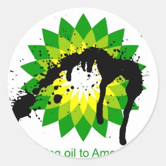 BP estamos trayendo el aceite a las orillas Pegatina Redonda