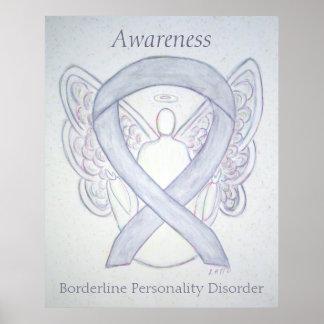 BPD Awareness Angel Gray Ribbon Art Poster Prints