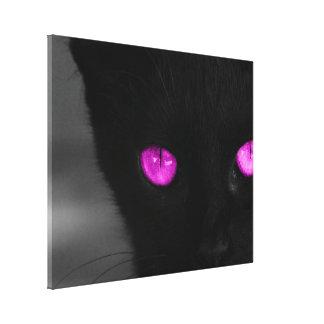 BPUR Black Cat Purple Eyes Canvas Print