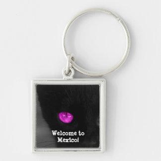 BPUR Black Cat Purple Eyes Keychain