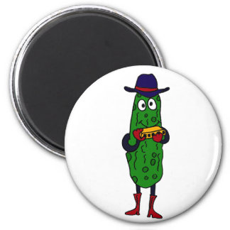 BQ- Funny Pickle Playing Harmonica Cartoon 2 Inch Round Magnet