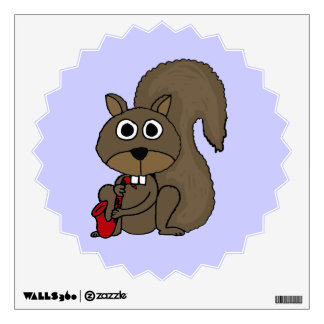 BQ- Squirrel Playing Saxophone Wall Decal