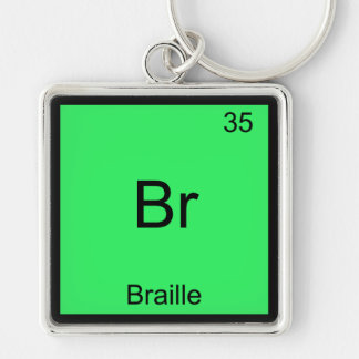 Br - Braille Funny Chemistry Element Symbol Tee Silver-Colored Square Keychain