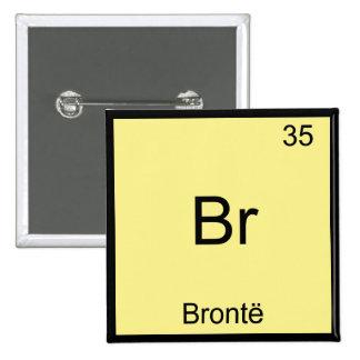Br - camiseta divertida del símbolo del elemento d pin cuadrado