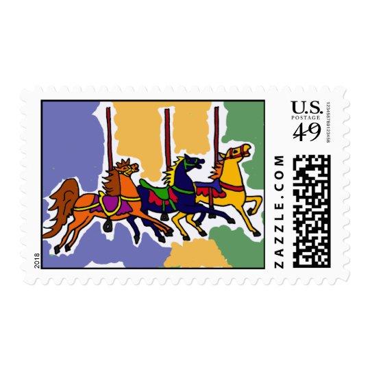 BR- Carousel Horse Folk Art Postage Stamps
