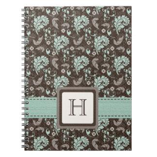 Br con monograma del trullo del diario del cuadern cuadernos
