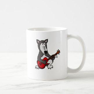 BR- Cute Wolf Playing Electric Guitar Cartoon Classic White Coffee Mug