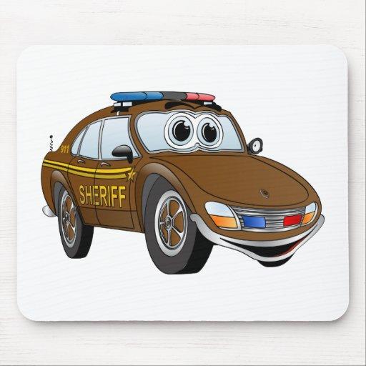 BR del dibujo animado 4 del coche del sheriff Mousepads