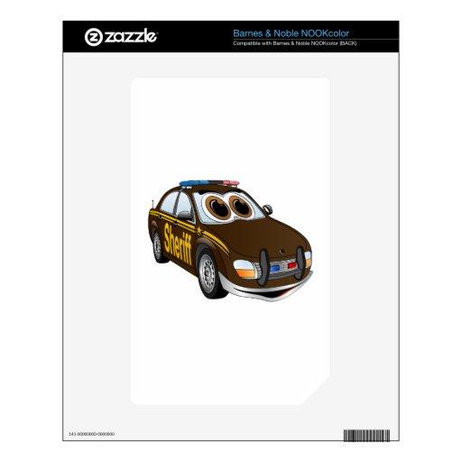 BR del dibujo animado del coche del sheriff Calcomanía Para NOOK Color
