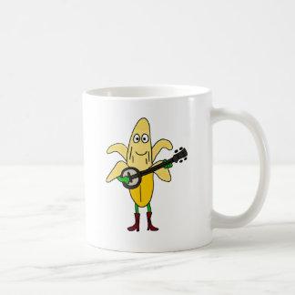 BR- Funny Banana Playing Banjo Cartoon Coffee Mug