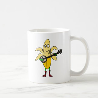 BR- Funny Banana Playing Banjo Cartoon Classic White Coffee Mug