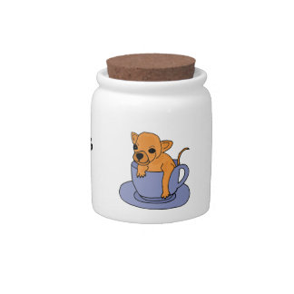 BR- Funny Chihuahua in a Teacup Pet Treat Jar Candy Jars