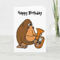 BR- Gorilla Playing Tuba Birthday Card
