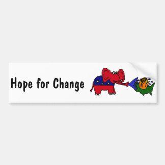 BR- Hope For Change GOP Elephant Car Bumper Sticker