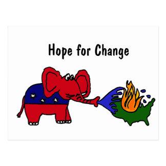 BR- Hope For Change GOP Elephant Postcards