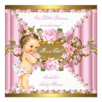 """Br rosado de la princesa fiesta de bienvenida al invitación 5.25"""" x 5.25"""""""
