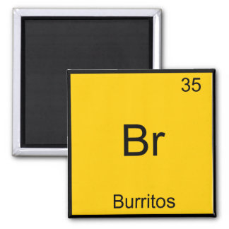 Br - símbolo del elemento de la química de los imán cuadrado