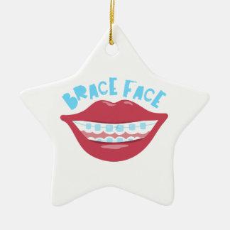 Brace Face Double-Sided Star Ceramic Christmas Ornament