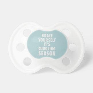 Brace yourself, it's cuddling season pacifier