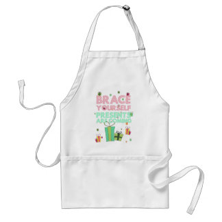 Brace yourself, presents are coming adult apron