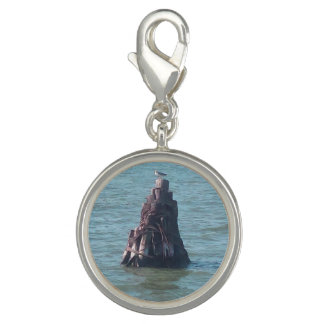 Bracelet Charm Silver Plated Seagull Resting