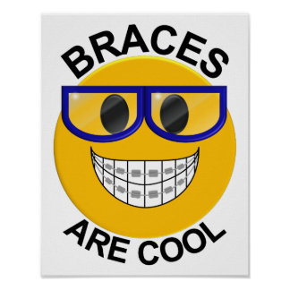 Braces Are Cool Dentist Wall Poster - Blue Glasses